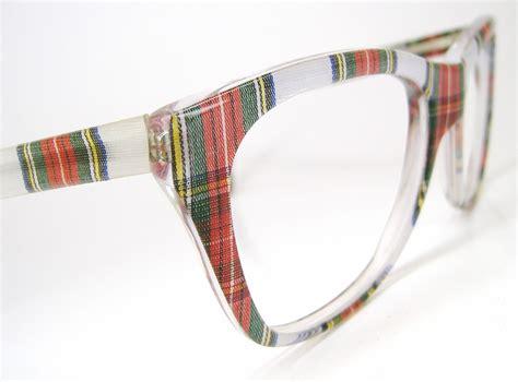 vintage 80s plaid eyeglasses or sunglasses