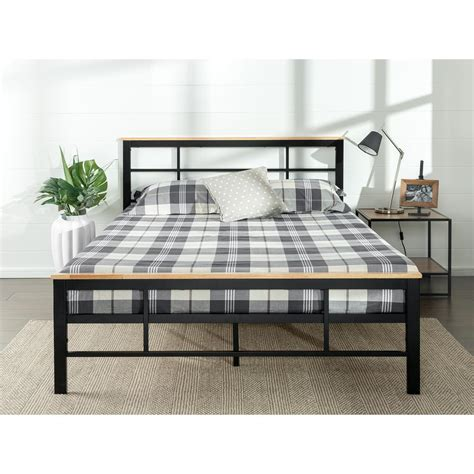 zinus urban metal  wood black queen platform bed frame
