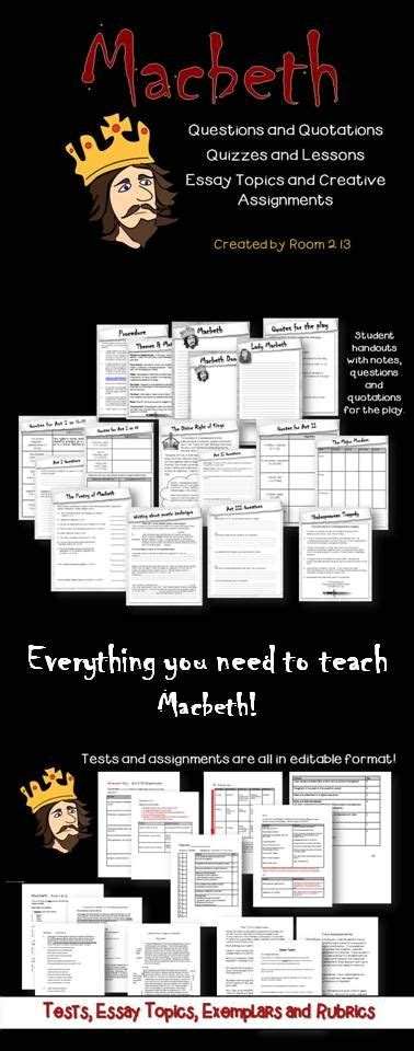 Macbeth Essay Assignments by Macbeth Notes Questions Tests Essays And Assignments