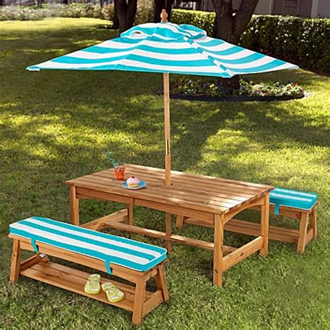 kidkraft bench table set buy kidkraft 174 under the sun table bench set with umbrella from bed bath beyond