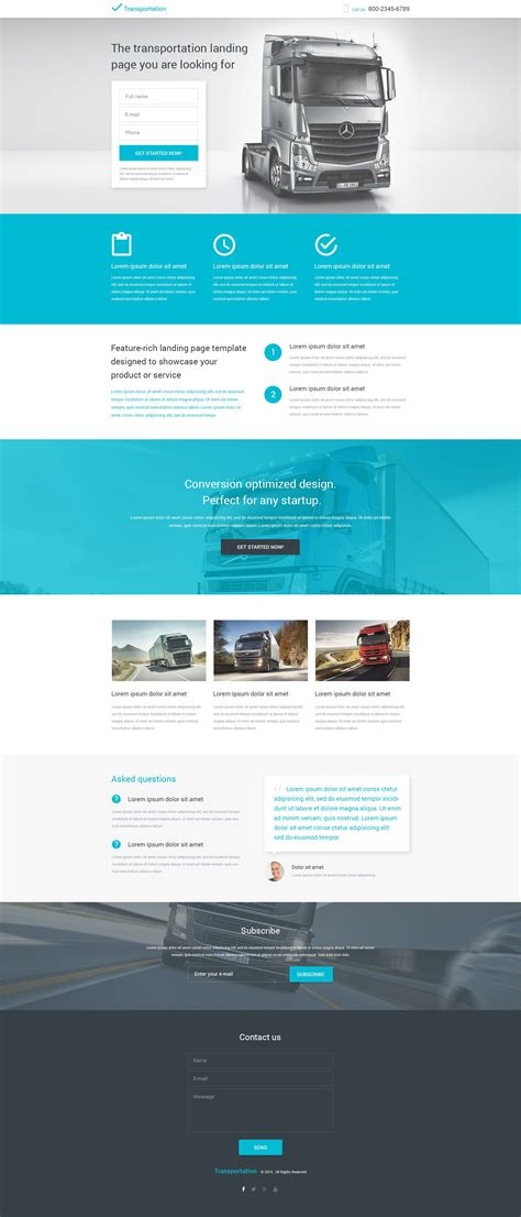 responsive landing page templates transportation responsive landing page template 53561