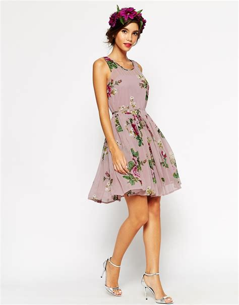 Mergory Flowery Flare Mini Dress lyst asos wedding lilac floral skater mini dress