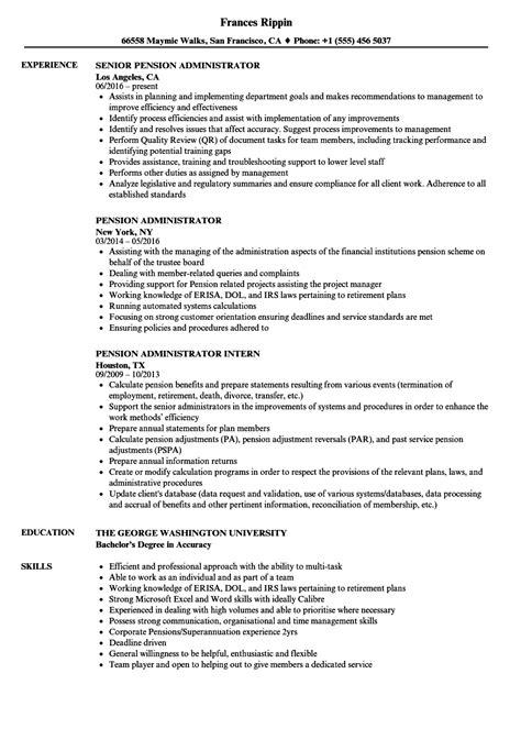 Pension Administrator Sle Resume by Pension Administrator Resume Sles Velvet