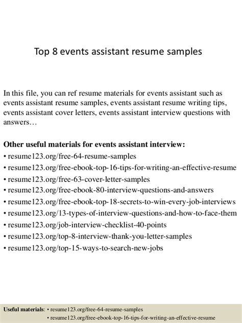 Events Assistant Sle Resume by Top 8 Events Assistant Resume Sles
