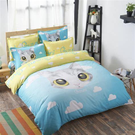 Bedding Set Boys Comforter Cover Sheet Bed In Size Kid Bedding Sets Warehousemold Blue Clouds Cat Duvet Cover Flat Sheet Pillowcase Sets For Boys Bedding Set