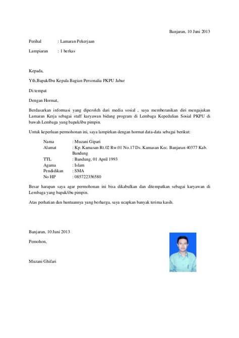 Contoh Surat Lamaran Pekerjaan Ke Kejaksaan by Surat Lamaran Kerja Non Formal Ben Contoh Lamaran