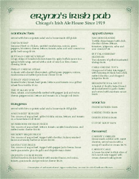 irish menu irish pub menus irish menu template