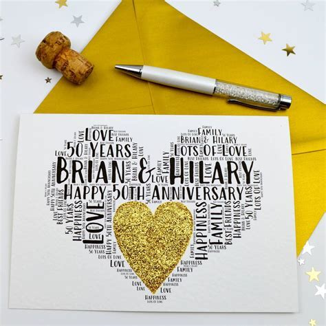 personalised 50th wedding anniversary love sparkle card by