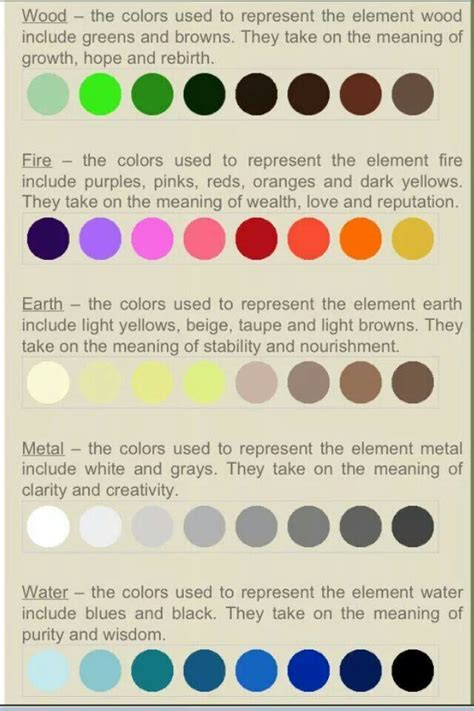 feng shui color feng shui elements and corresponding colors feng shui