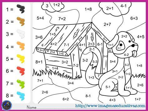 imagenes matematicas colorear fichas de matematicas para sumar y colorear dibujo 5
