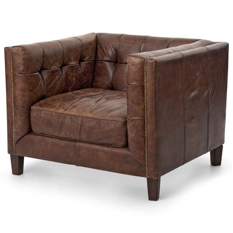 rustic leather armchair christopher rustic lodge tufted back brown