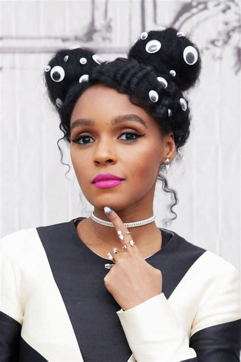 how to do janelle monae hairstyles janelle monae wears googly eyes in hair video us weekly
