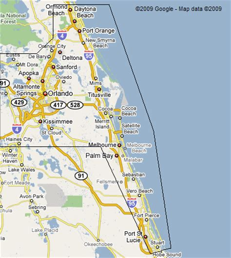 map of florida east coast map of east coast of florida cities