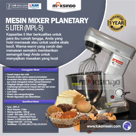Mixer Listrik mesin mixer roti kue bakery model planetary terbaru toko mesin maksindo