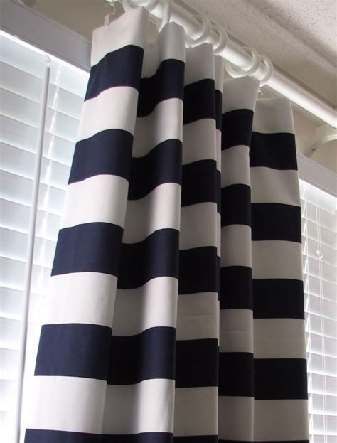navy and white horizontal striped curtains new designer curtains pair of decorative by castlecreekdesigns