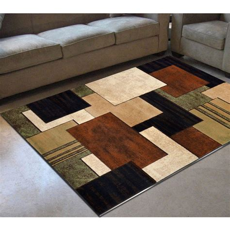 Home Dynamix Tribeca Brown Green 5 Ft 2 In X 7 Ft 2 In Green And Brown Area Rugs