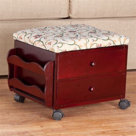 rolling ottoman with storage floral vine multi storage rolling ottoman fabric ottoman
