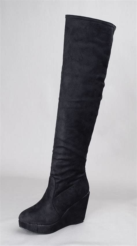 annakastle new womens black faux suede the knee thigh
