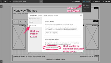 Wordpress Export Layout | using a static front page with headway headway themes