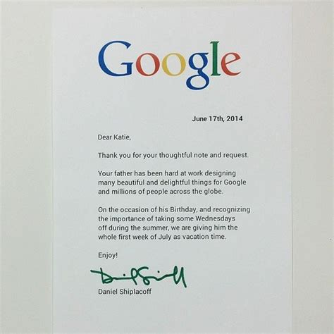 a little wrote google a letter asking to give her dad