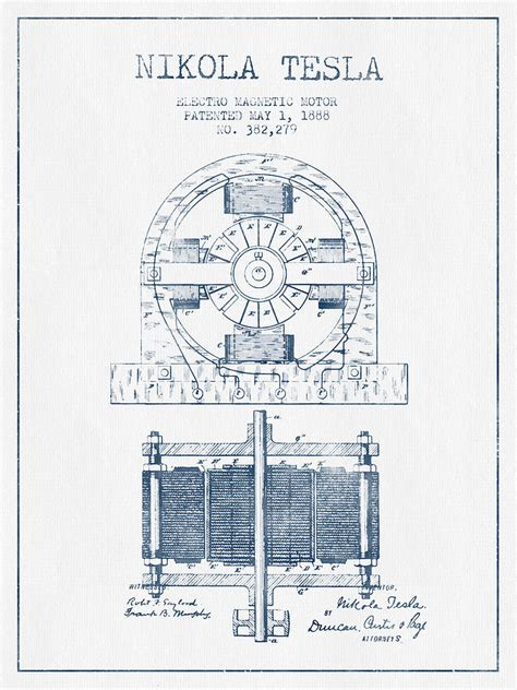 Tesla Patents Pdf Nikola Tesla Electro Magnetic Motor Patent Drawing From