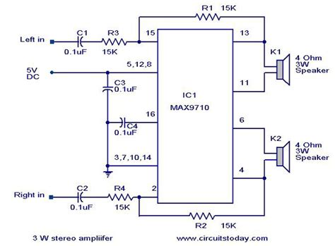 simple stereo lifier circuit diagram 3 w stereo lifier using max 7910 audio power lifier