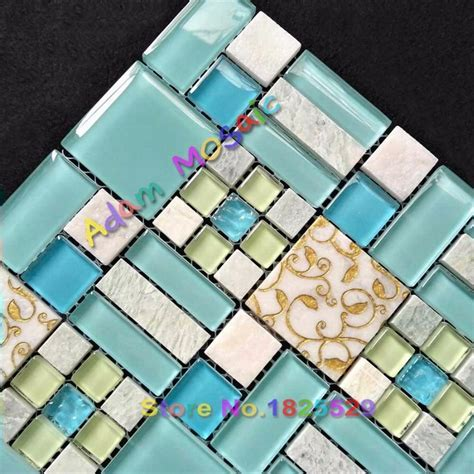 Sky Blue Stone Tiles Kitchen Backsplash Oceran Blue Glass