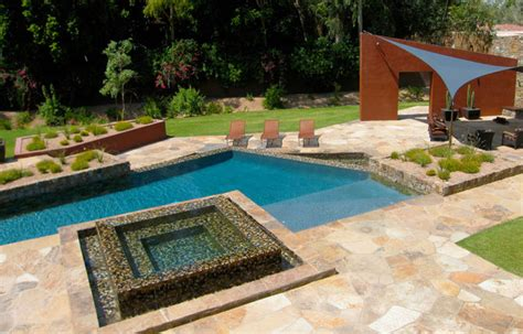 Backyard Resorts Pools And Spas Dramatic Angles And Infinity Overflow Spa Create A Resort