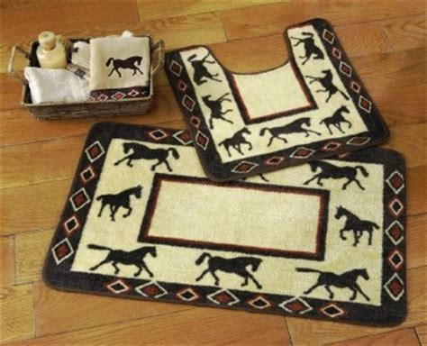 Western Bathroom Rugs Western Bathroom Rug Set Toilet Commode Contour And Bath Mat Rug New