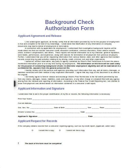 Background Check Release Background Check Authorization Release Form Images