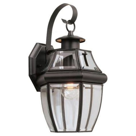 Seagull Light Fixtures Sea Gull Lighting Lancaster Wall Mount 1 Light Outdoor Black Fixture 8067 12 The Home Depot