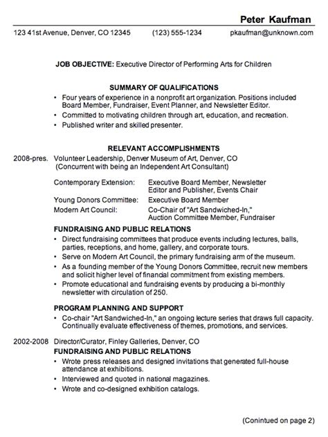 executive resume format exles executive director resume sle jennywashere