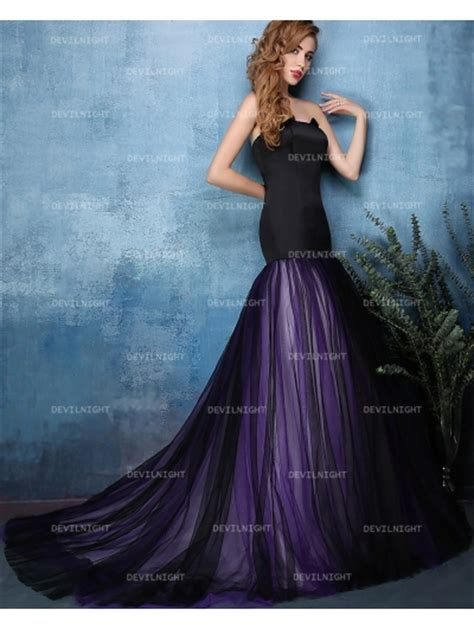 Purple Wedding Dresses Uk by Black And Purple Mermaid Wedding Dress Devilnight