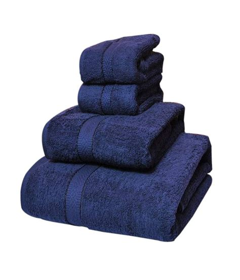 navy blue towels bathroom trident set of 4 cotton towels navy blue buy trident