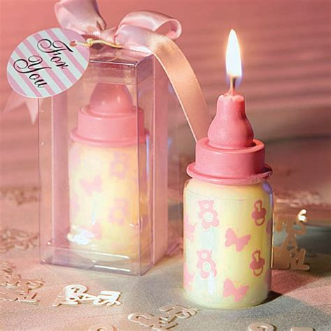 candle baby shower favors pink baby bottle candle baby shower favors