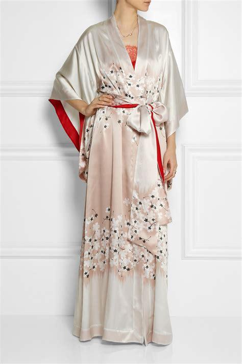 kimono robe carine gilson floral print silk satin kimono robe