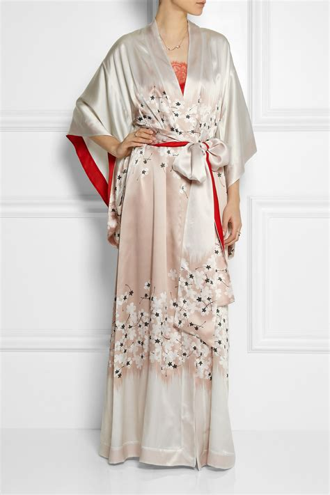 Carine Gilson Floral Print Silk Satin Kimono Robe