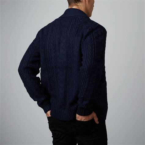 Pashmina Standar 4 shawl collar fisherman cardigan navy xs standard issue nyc touch of modern