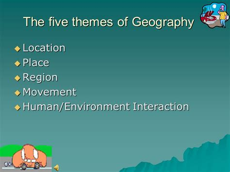 themes of geography human environment interaction the five themes and the four regions of nj ppt video