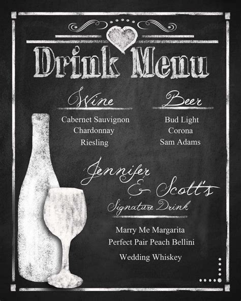 custom chalkboard wedding drink menu choose your size