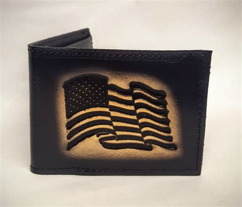 Handmade Leather Wallets Usa - american flag embossed bifold leather wallet leather