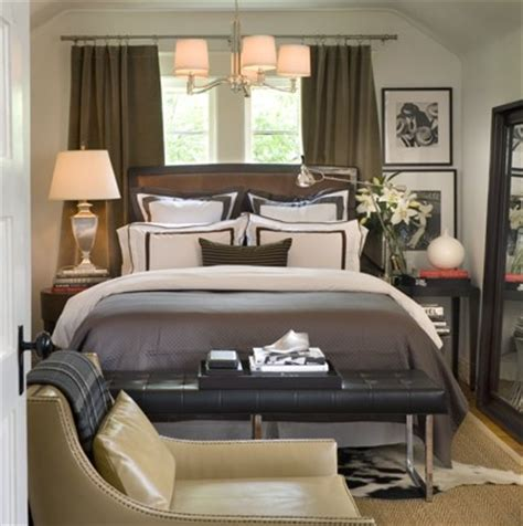 brown and gray bedroom headboard in front of window contemporary bedroom