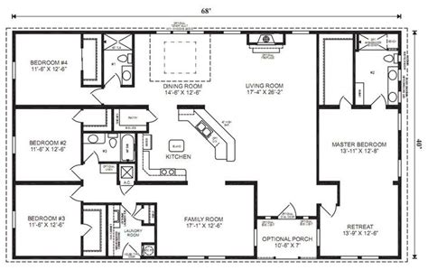 ranch house floor plans 4 bedroom for the home