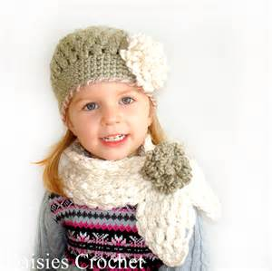 Daisies crochet crochet 2 pdf patterns puffer hat and scarf set