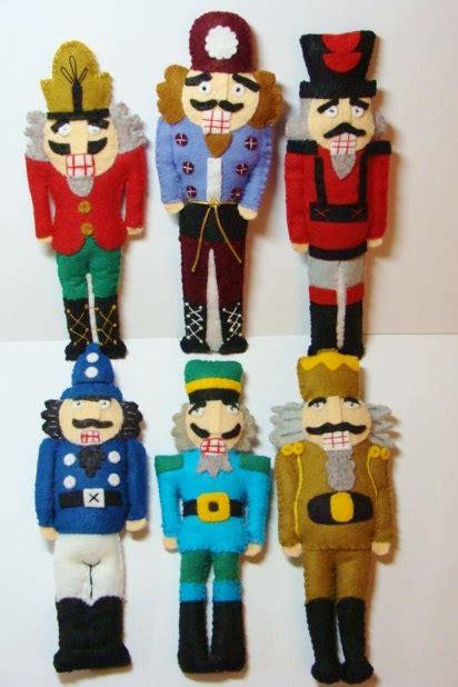 Handmade Nutcracker - nutcracker ornaments stuffed wool felt blend handmade set of