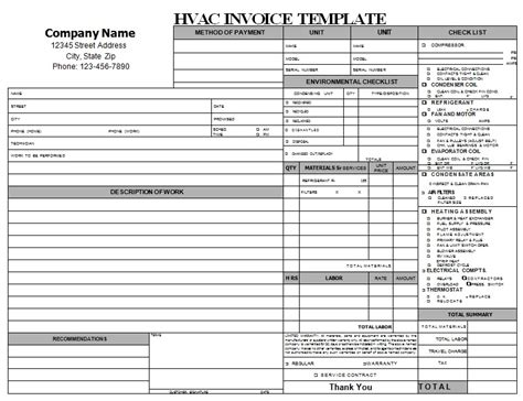 repair ticket template 18 free hvac invoice templates demplates