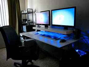 Desk Riser For Standing Dual Screens Blue Leds And A Diy Desk Shelf Lifehacker