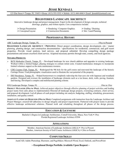 Resume Sles For Landscaping Landscape Architect Resume Sales Architect Lewesmr