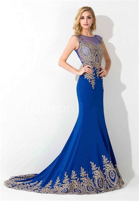 Lace Mermaid Evening Gown royal blue mermaid lace appliques evening gowns on