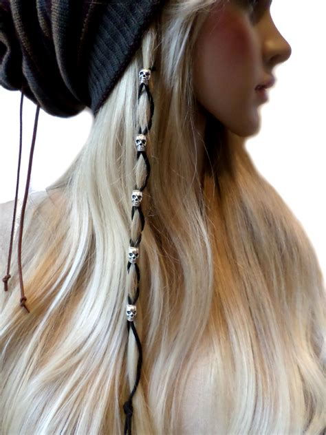 how to bead hair silver skull black leather hair ties wraps hair
